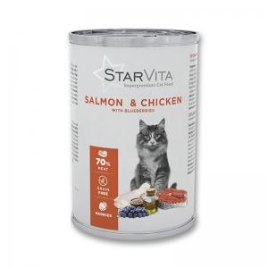 Вологий корм StarVitа лосось з курицею 400 г